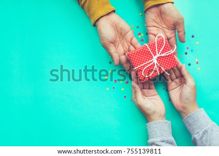 Male gives a gift to female with copy space background.happiness moment concepts ideas #755139811