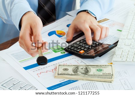 male giving key and account money