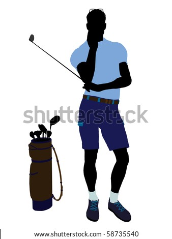 Male golf player art illustration silhouette on a white background