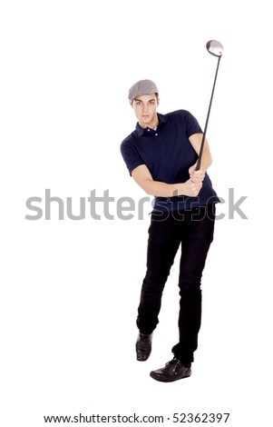 Male golf player isolated on white