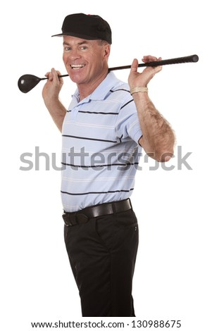 male golfer on white isolated background