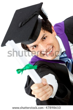 male graduation portrait smiling and showing his diploma isolated over a white background