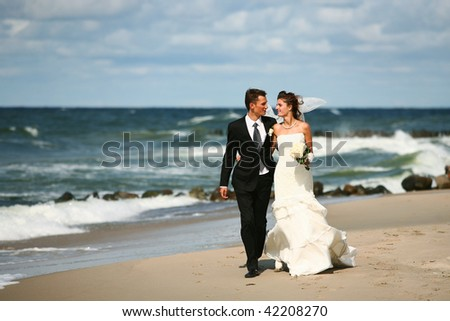 stock photo male groom female bride