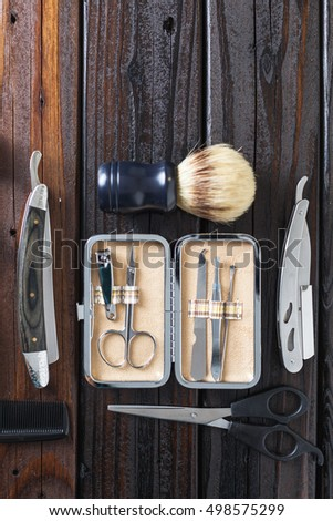 male grooming accessories on a...
