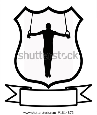 Male Gymnastics Sport Emblem Badge Shield Logo Insignia Coat of Arms - stock photo
