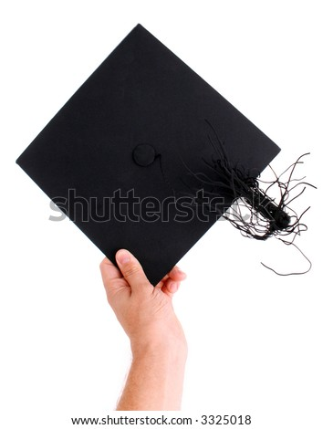 Male hand about to throw a mortarboard