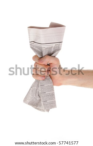 Male hand and newspaper isolated on white background