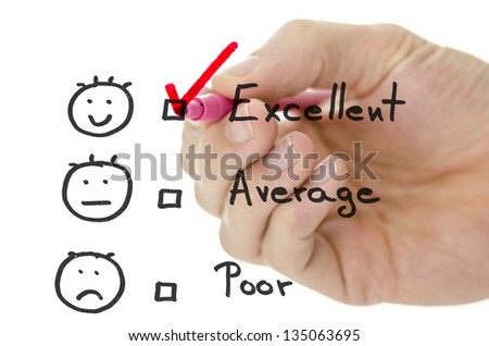 Male hand choosing excellent on a customer service evaluation form on a virtual whiteboard.