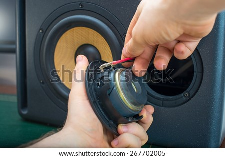 Male hand connecting professional studio monitor speaker.