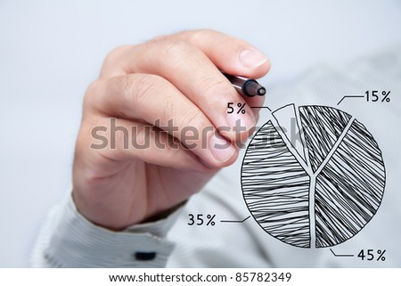 Male hand drawing a chart.