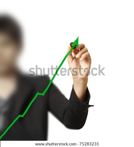 Male hand drawing a chart isolated on white background