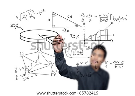 Male hand drawing a chart isolated on white background.