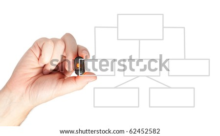 Male hand drawing a diagram on white background