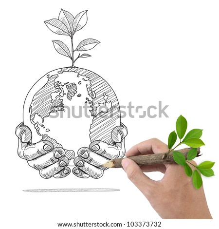 Male hand drawing Globe and Plant in the hands.