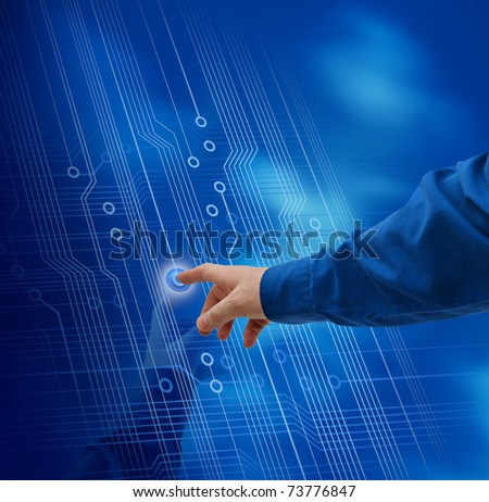 Male hand finger pushing button electronic circuit background