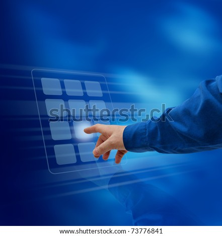 Male hand finger pushing virtual keypad button