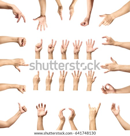 Male hand gesture and sign collection isolated over white background, set of multiple pictures #641748130