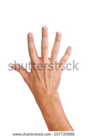Male hand gesture number five closeup isolated on a white background