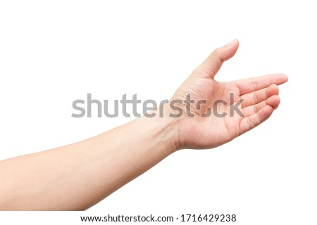 Male hand gesture with holding virtual a bottle, smartphone or something isolated on white background