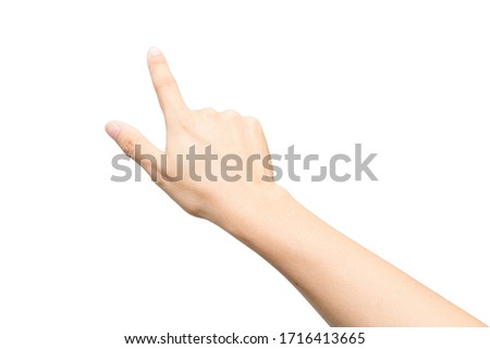Male hand gesture with pointing sign or touch screen isolated on white background stock photo