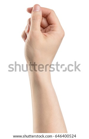 male hand hold something, isolated with clipping path on white background