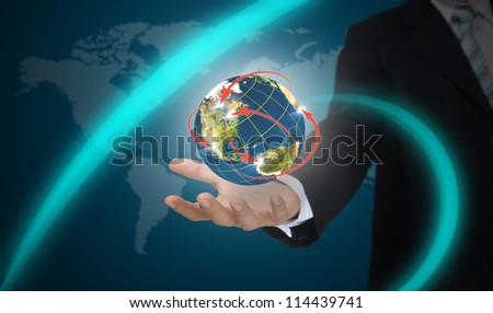 Male Hand hold world network.  Element of this image furnished by NASA.