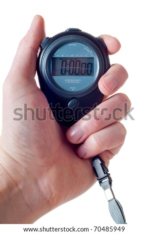 Male hand holding a blue stop watch isolated over white