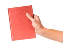 Male hand holding a book isolated on a white background