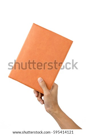Male hand holding a book isolated on a white background, Female hand holding a book isolated on a white background.