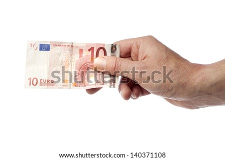 Male hand holding a 10 Euro bill isolated on white