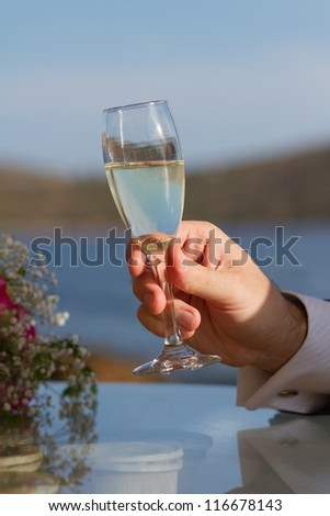 Male hand holding a glass with white wine