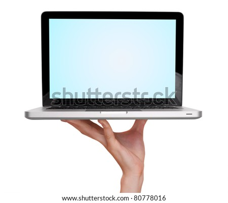 male hand holding a laptop, isolated on white
