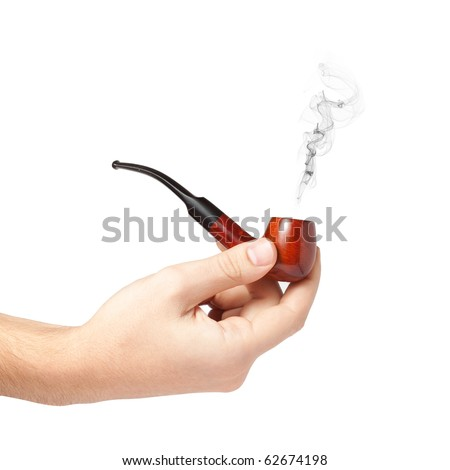 Male hand holding a smoking pipe isolated on white background