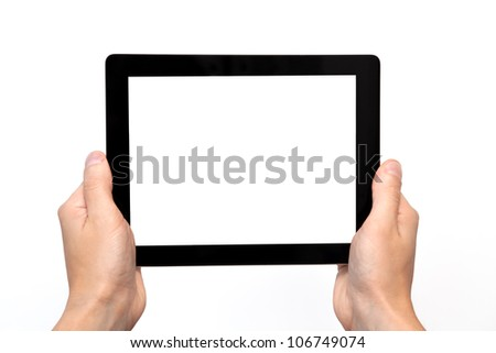 male hand holding a tablet touch computer gadget with isolated screen