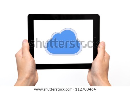 male hand holding a tablet touch computer gadget with the image of cloud