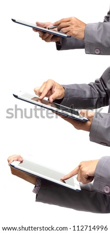 Male hand holding a touchpad pc, one finger touches the screen, isolated on white