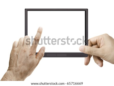 male hand holding a touchpad with an e-Book on screen isolated on white