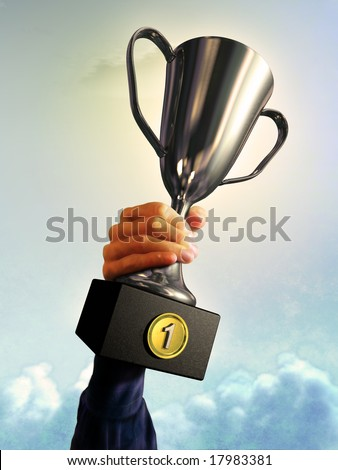 Male hand holding a trophy Digital illustration