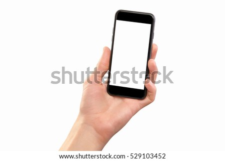 Male hand holding black cellphone isolated at white background. #529103452