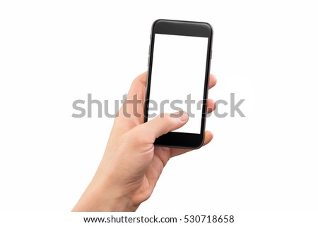 Male hand holding black cellphone isolated at white background. #530718658