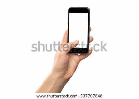 Male hand holding black cellphone isolated at white background. #537707848