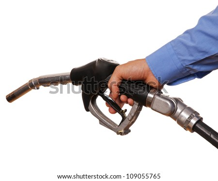 Male hand holding black pump isolated on white
