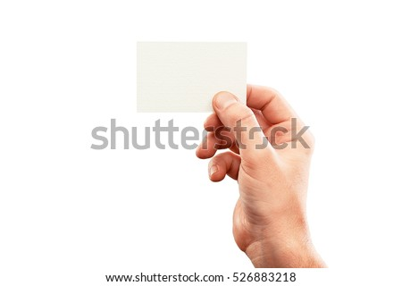 Male hand holding business card.