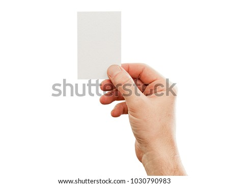 Male hand holding business card, mockup, isolated on white