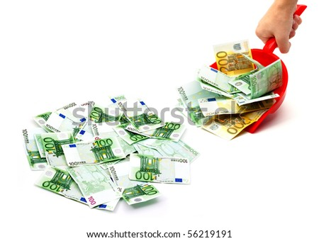 Male hand holding dustpan with money on a white background