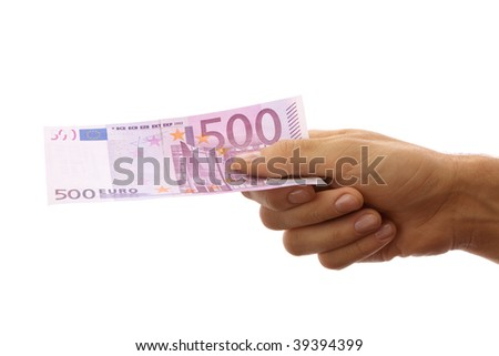 Male hand holding 500 euro