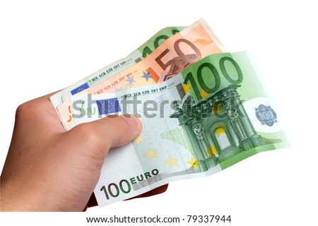 Male hand holding euro money banknotes
