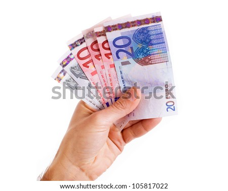 Male hand holding euro money banknotes, isolated on white