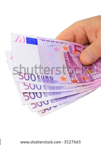 Male hand holding five 500 euro notes isolated on pure white