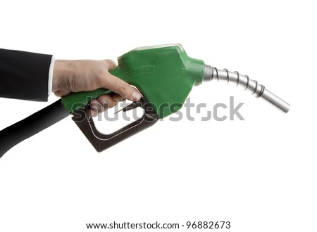 Male hand holding gas nozzle on white